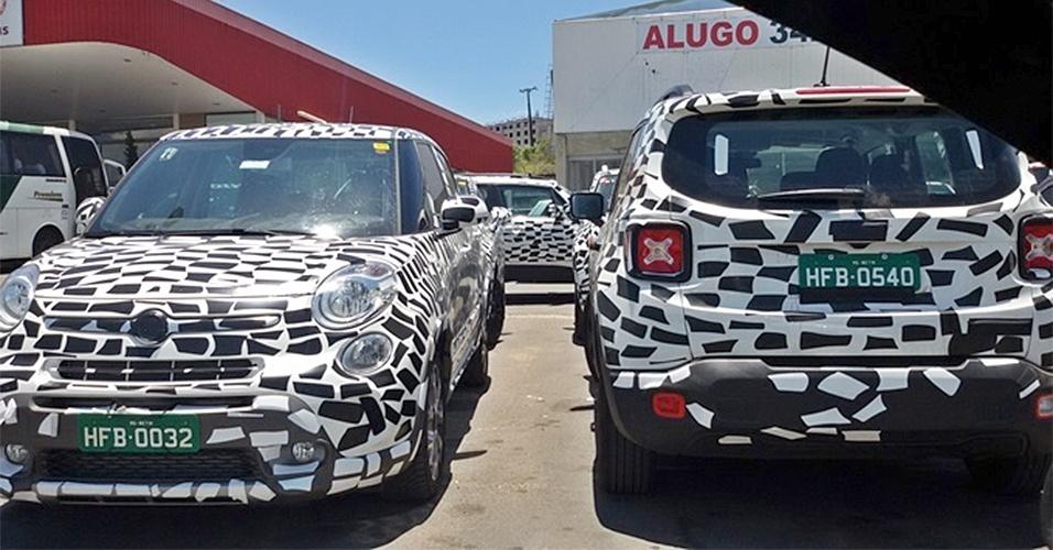 Fiat 500L e Jeep Renegade são flagrados em Pouso Alegre (MG); o primeiro é dúvida para o Brasil, mas o segundo está quase pronto paara chegar às lojas em março