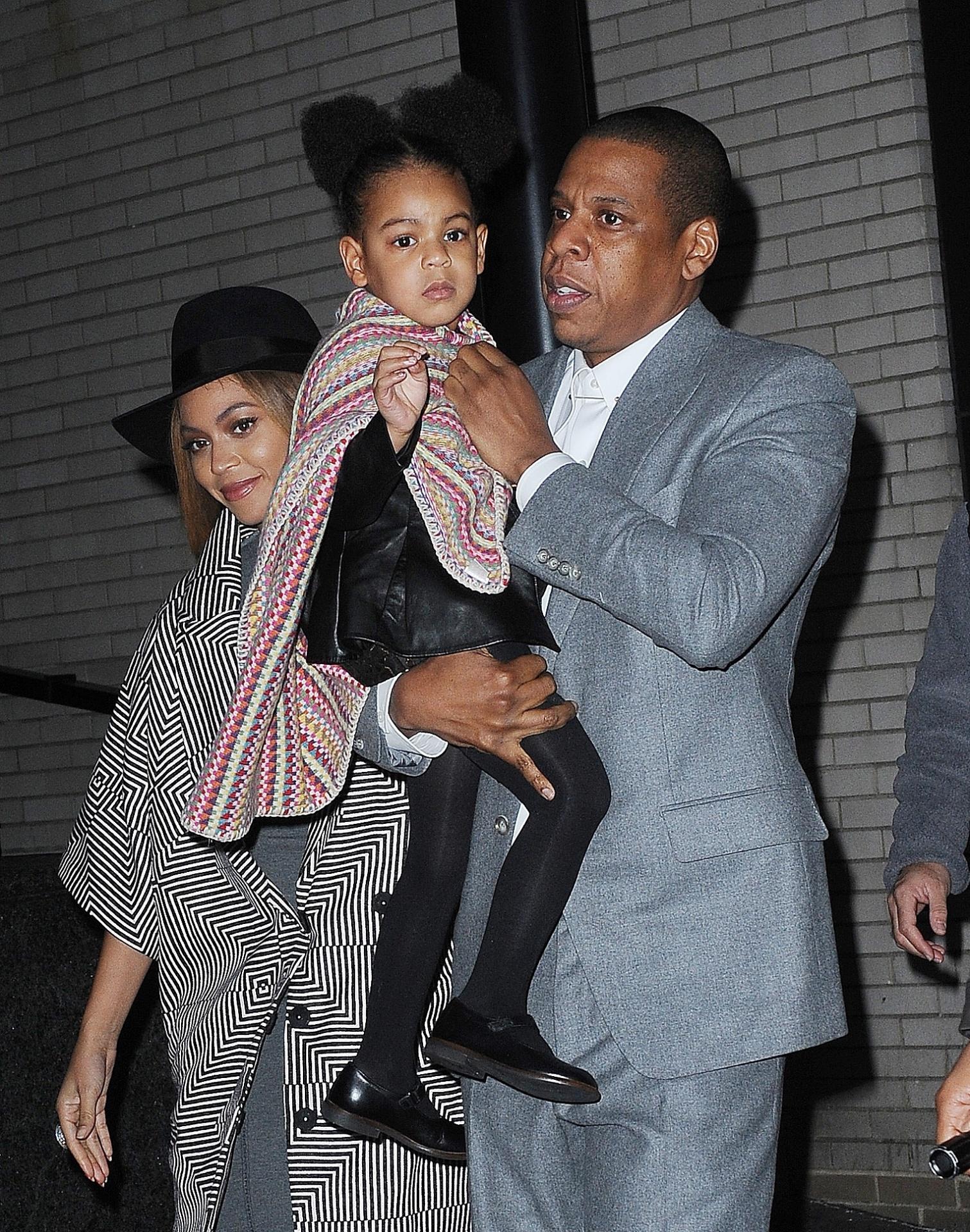 Beyoncé, Jay Z e a filha do casal, Blue Ivy
