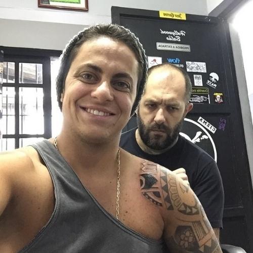 5.fev.2015 - Thammy Miranda exibiu sua nova tatuagem em seu perfil no Instagram nesta quinta-feira (5)