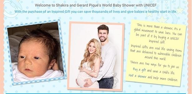 Shakira e Pique apresentam o filho Sasha Mebarak em convite chá beneficente