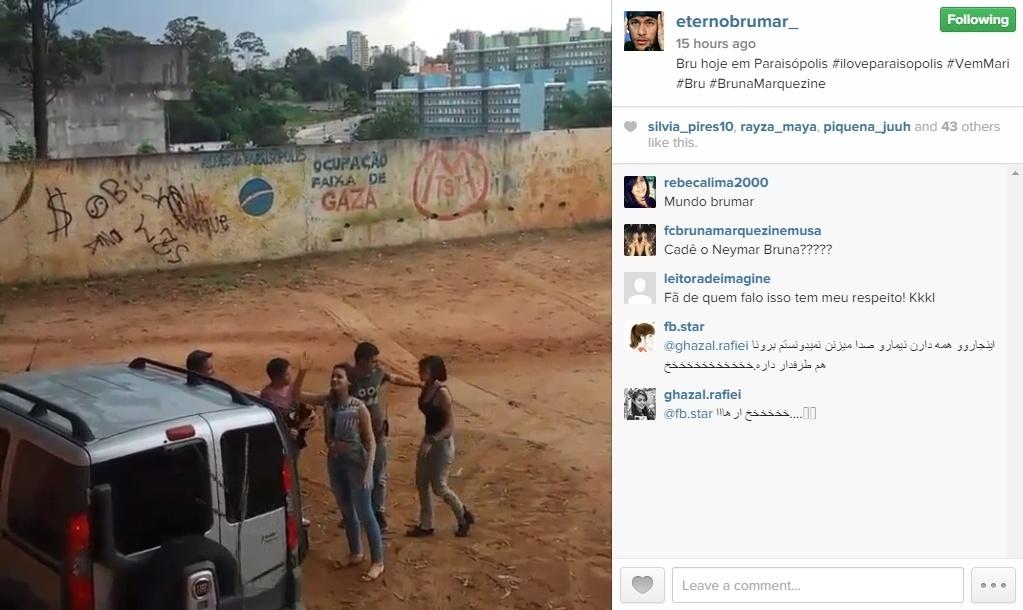 10.fev.2015 - Vídeo de fãs de Bruna Marquezine mostram a atriz em locação de