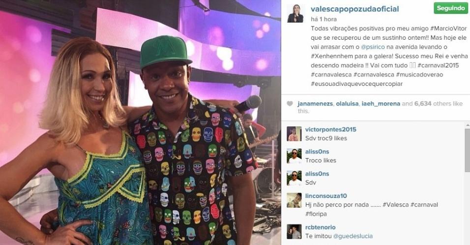 15.fev.2015 - Valesca Popozuda publicou mensagem de apoio ao cantor Márcio Victor, vocalista da banda Psirico, que passou por uma cirurgia para tratar apendicite no sábado (14)