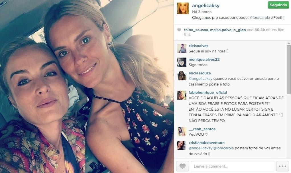 24.fev.2015 - Angélica e Carolina Dieckmann também viajaram do Rio para São Paulo para o casamento de Thiaguinho e Fernanda