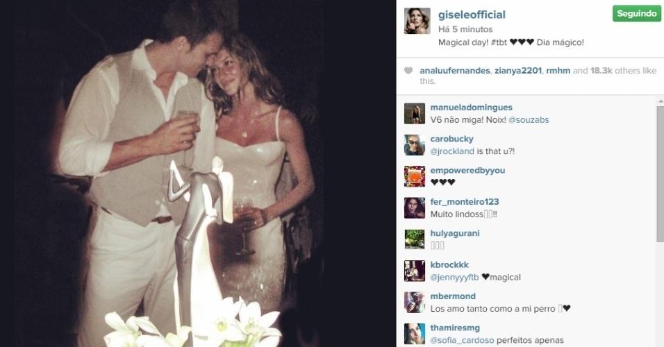 Gisele Bundchen relembra casamento com Tom Brady: