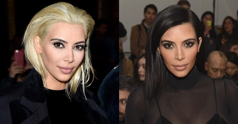 5.mar.2015 - Kim Kardashian aparece platinada para assistir ao desfile da Balmain durante a Semana de Moda de Paris. A escolha de mudança da socialite dividiu opiniões entre fãs na internet