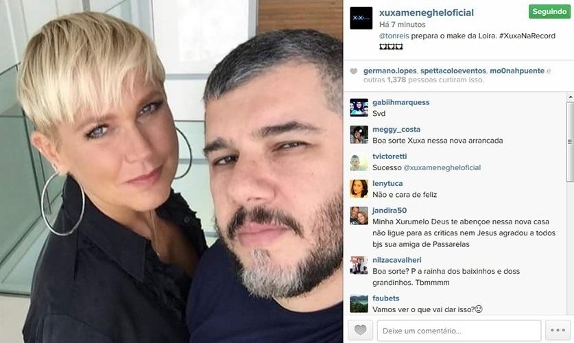 5.mar.2015 - Xuxa mostra make para sua chegada à Record, feito pelo maquiador Ton Reis