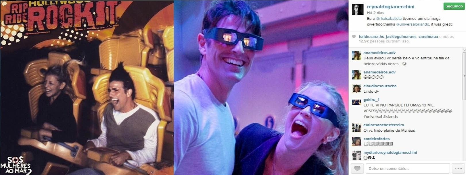 10.mar.2015- Reynaldo Gianecchini se diverte em parque da Universal Studios, em Orlando, ao lado da amiga Rhaissa Batista: