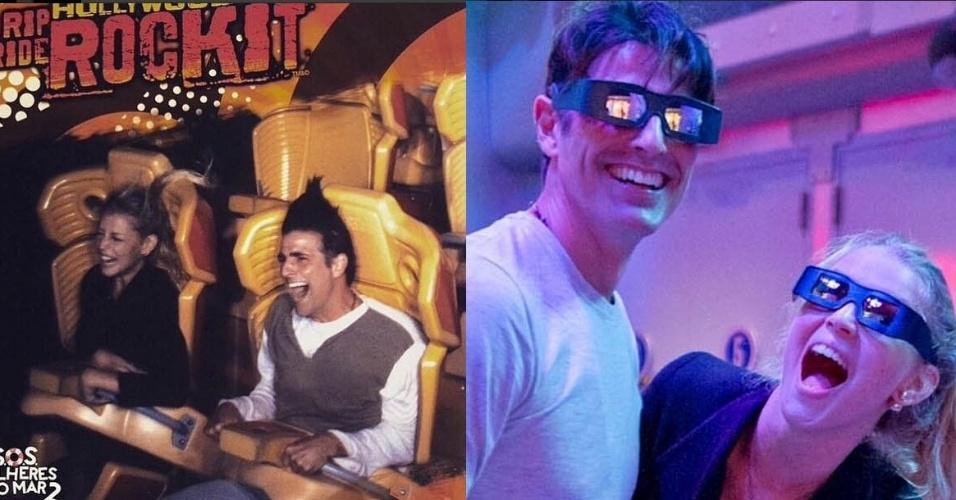 """10.mar.2015- Reynaldo Gianecchini se diverte em parque da Universal Studios, em Orlando, ao lado da amiga Rhaissa Batista: """"Até que foi tranquilo"""", escreveu ele sobre a montanha russa que o deixou com o cabelo em pé na foto"""