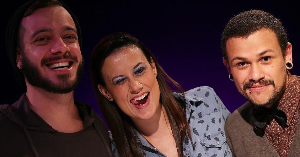 11.mar.2015 - Max Porto, Angélica Morango e Felipe Oliveira, do Diva Depressão, participam do UOL Vê TV Especial BBB