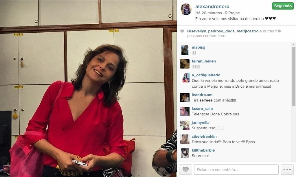 12.mar.2015 - Drica Moraes apareceu de surpresa nos estudios de