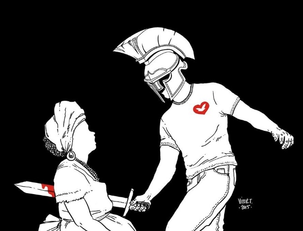 Charge do cartunista Rodrigo Teixeira sobre os Gladiadores do Altar, da Igreja Universal do Reino de Deus