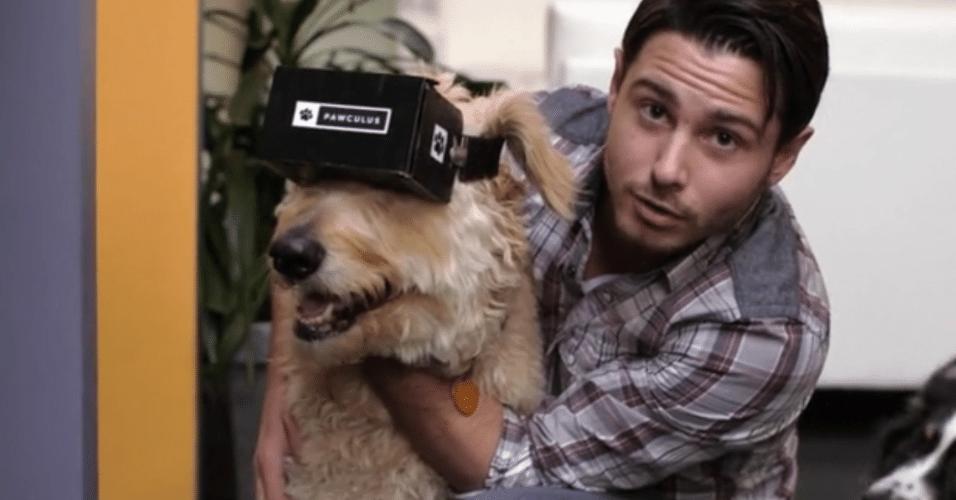 Agora até seu cãozinho poderá entrar na brincadeira da realidade virtual com o Pawculus, um Oculus Rift para seu  pet.