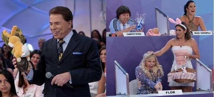 Silvio Santos se diverte em programa que vai ao ar no domingo de Páscoa. O apresentador ganhou ovo de chocolate e Lívia Andrade se vestiu de coelha