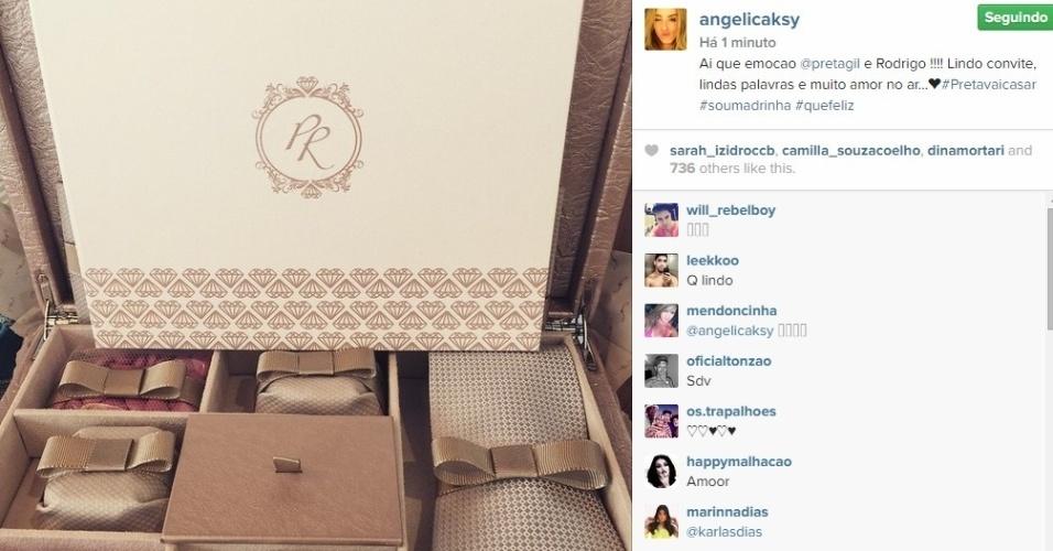 07.abr.201 - Angélica mostra no Instagram o convite de casamento de Preta Gil