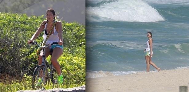 08.abr.2015 - Bruna Marquezine aproveitou a quarta-feira (8) de sol para pedalar e colocar os pés no mar, na praia da Reserva no Rio de Janeiro