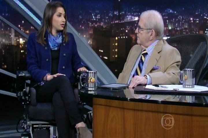 9.abr.2015 - Laís Souza conversa com Jô Soares, no