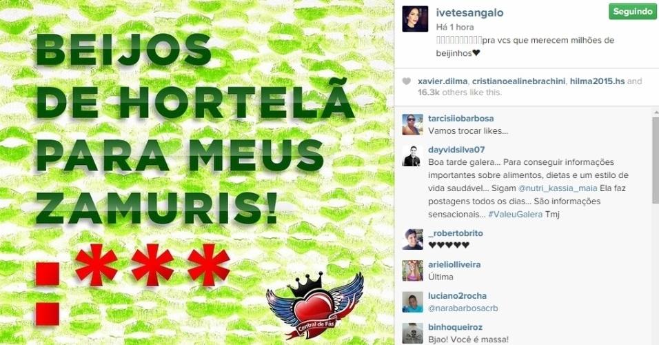 13.abr.2015 - A cantora Ivete Sangalo também não se esqueceu dos fãs em pleno Dia do Beijo e mandou uma mensagem especial através de sua conta no Instagram.