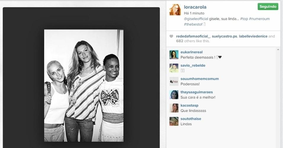 15.abr.2015 - A atriz Carolina Dieckmann publicou em seu Instagram uma fotografia antiga, onde aparece ao lado da supermodelo e da também atriz Isabel Filardis.