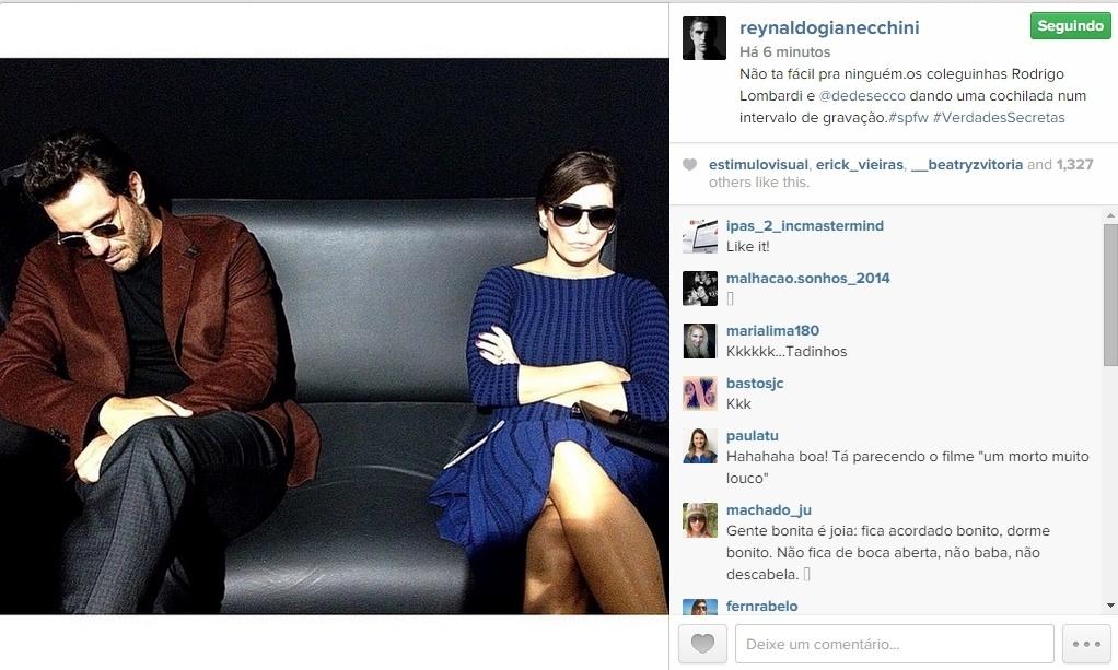 15.abr.2015 - Reynaldo Gianecchini decidiu tirar um sarro dos atores Rodrigo Lombardi e Deborah Secco, seus colegas na próxima novela das 23h da TV Globo,