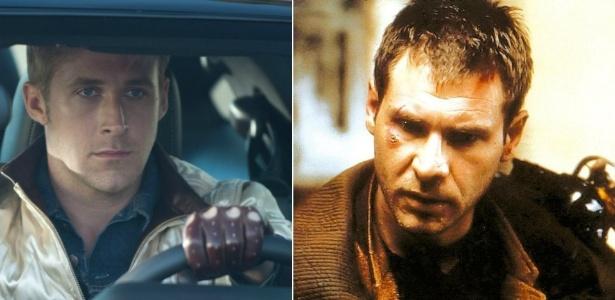 """Os atores Ryan Gosling, em """"Drive"""", e Harrison Ford, no """"Blade Runner"""" original"""