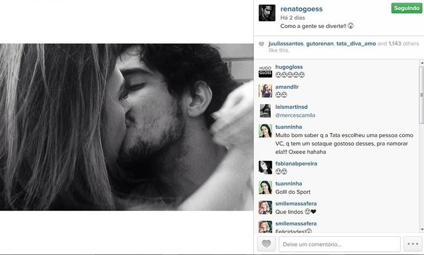15.abr.2015 - Novo namorado de Tatá Werneck, o ator Renato Góes posta foto beijando a atriz.
