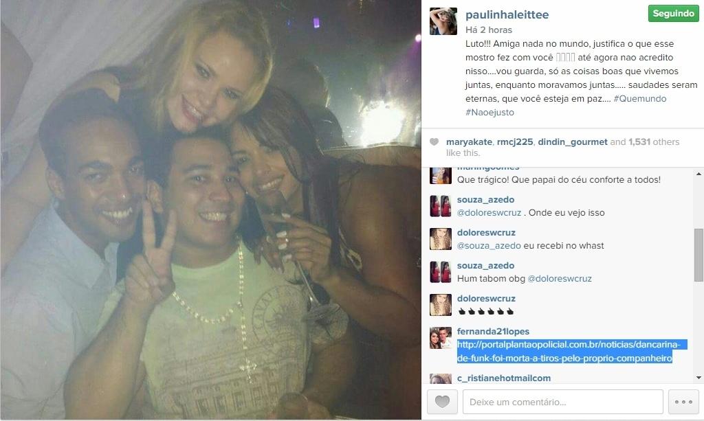 17.abr.2015 - Paulinha Leite lamentou morte de amiga, ex-dançarina do Gaiola das Popozudas