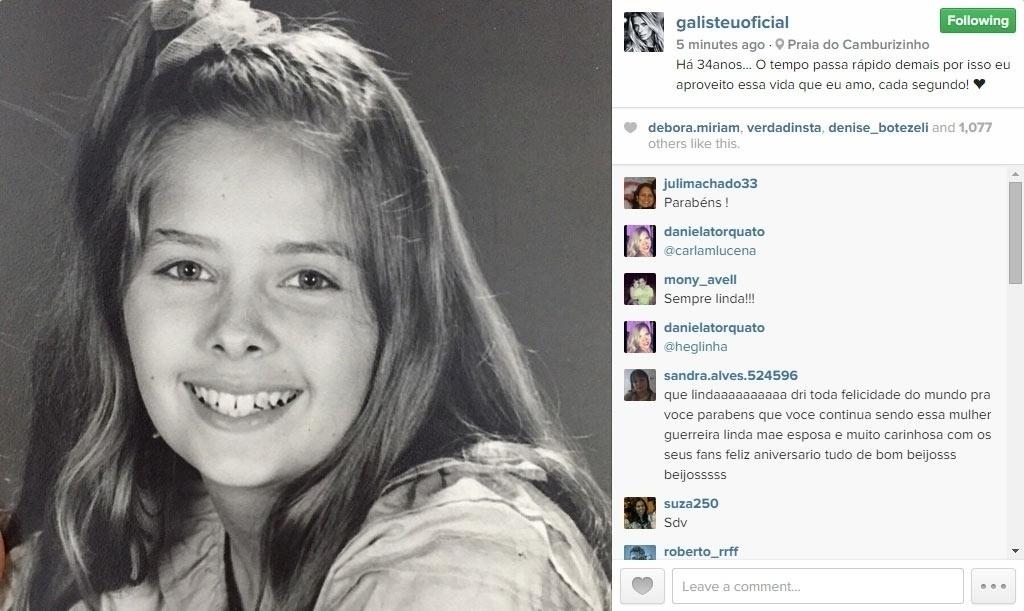 18.abr.2015 - Adriane Galisteu completa 42 anos neste sábado e publicou em seu Instagram uma foto tirada aos 8 anos de idade. Na imagem ela aparece sorrindo, com uma