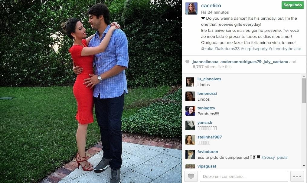 22.abr.2015 - Carol Celico, mulher do jogador de futebol Kaká, parabenizou o marido pelo aniversário de 33 anos na noite desta quarta-feira. Em seu Instagram, a socialite publicou uma foto romântica dos dois, dizendo que o aniversário era de Kaká, mas quem recebeu o presente foi ela.