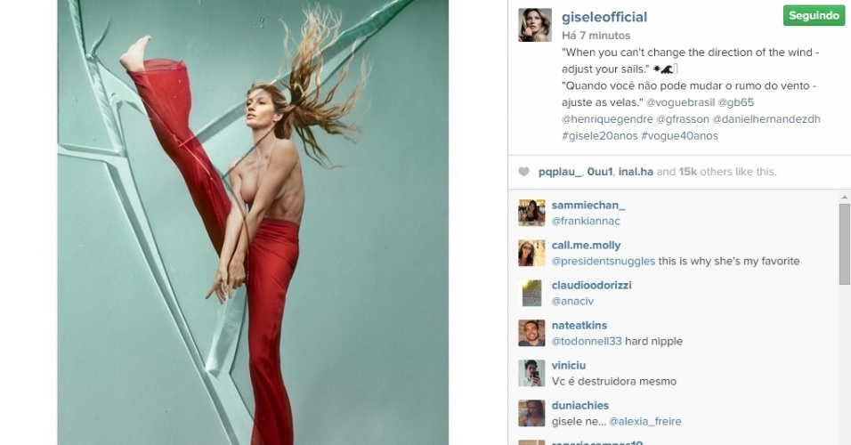 28.abr.2015 - Gisele Bündchen publicou em seu Instagram, nesta terça-feira, uma nova imagem do ensaio que fez para a revista