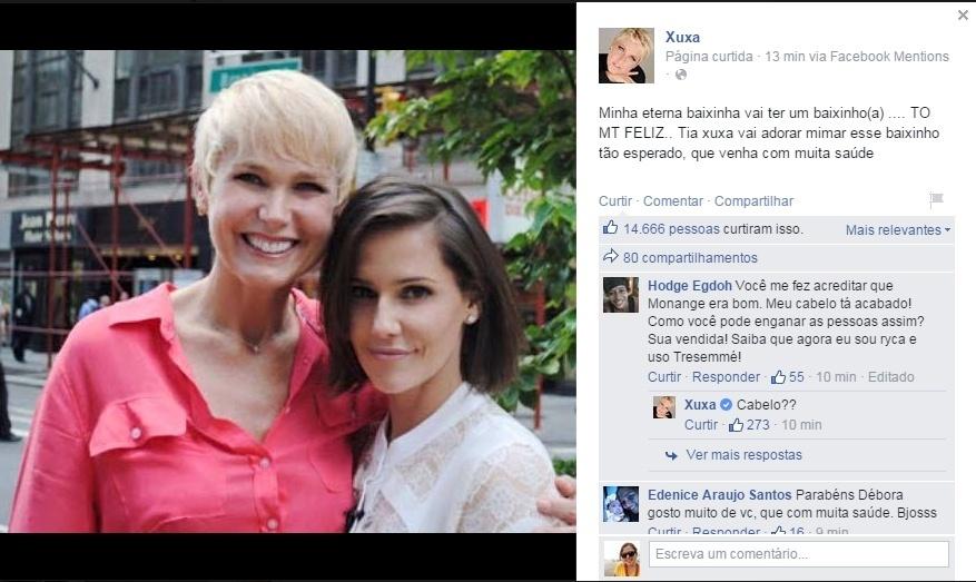 28.abr.2015 - Xuxa parabeniza Deborah Secco após a atriz anunciar a gravidez