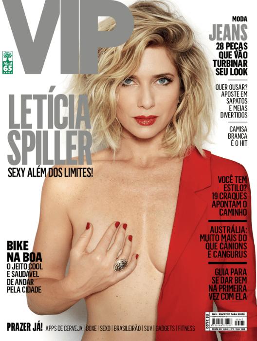 28.abr.2015- Aos 41 anos, Letícia Spiller posa sem sutiã para a capa da revista