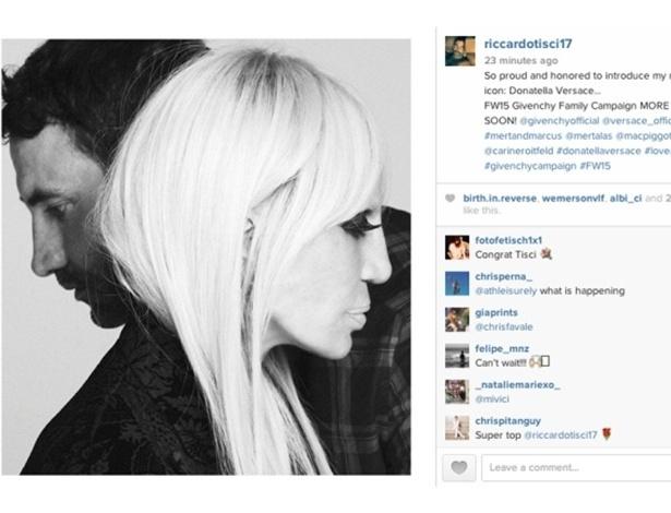 28.abr.2015 - Riccardo Tisci anunciou em seu Instagram que Donatella Versace estrelará campanha da Givenchy