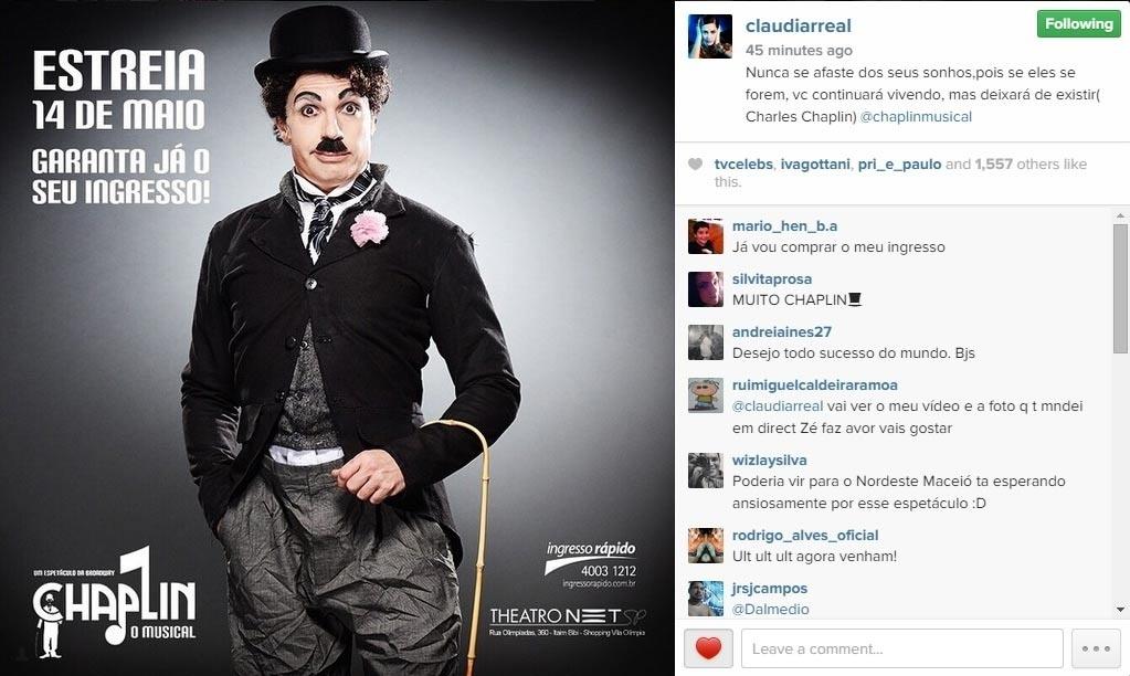 30.abr.2015 - Claudia Raia usou seu Instagram nesta quinta-feira para mostrar a primeira imagem oficial de seu namorado, Jarbas Homem de Mello, caracterizado como Chaplin. O ator, cantor e bailarino vai encarnar o personagem no teatro, no espetáculo