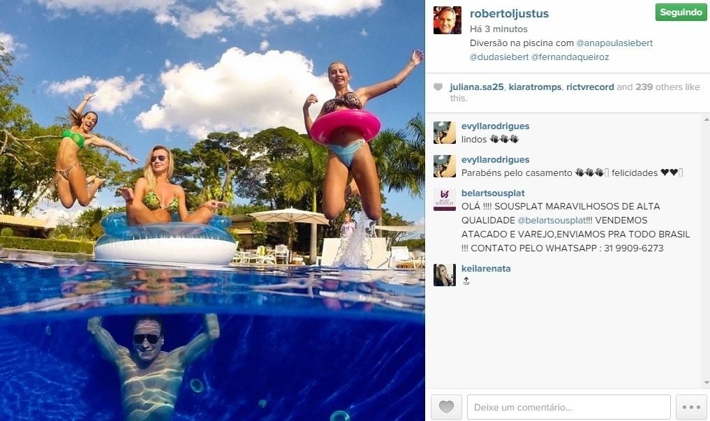 2.mai.2015 - No Instagram, Roberto Justus posta foto na qual aparece curtindo a lua de mel com Ana Paula Siebert
