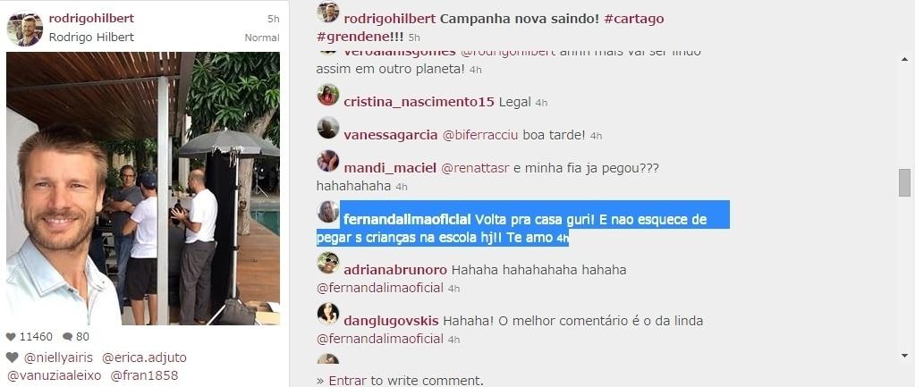 05-mai.2015 - A apresentadora Fernanda Lima viu o marido, Rodrigo Hilbert, publicar uma foto dos bastidores de um trabalho, na tarde desta terça-feira, e aproveitou a oportunidade para dar um recado: