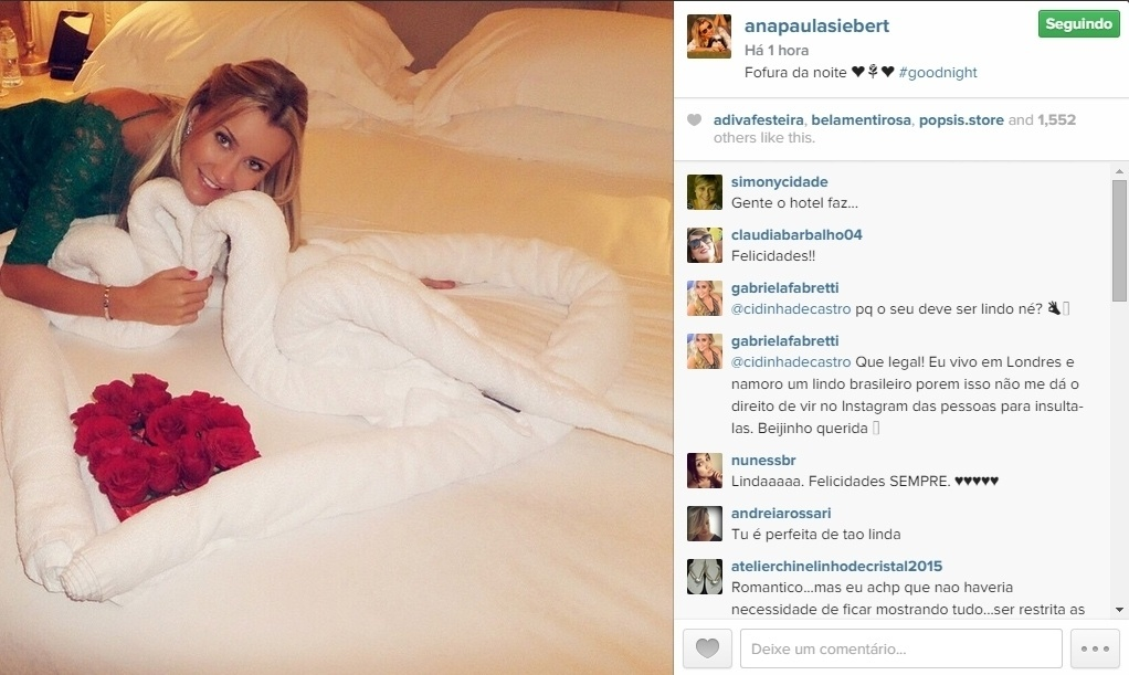 06.mai.2015 - Viajando em lua de mel com o marido, o apresentador Roberto Justus, a modelo Ana Paula Siebert compartilhou no Instagram uma foto da cama do casal, na noite desta quarta-feira.