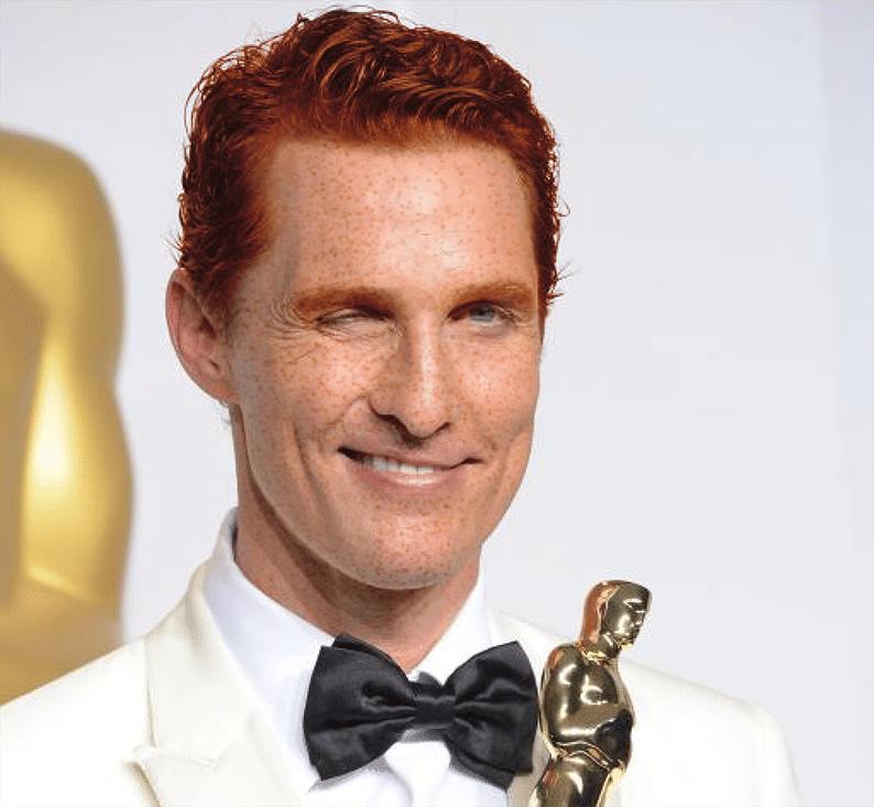 Matthew Mcconaughey ganhou seu primeiro Oscar em 2014 e também alguns fios de cabelo vermelho e sardas no rosto