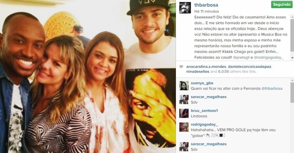 11.mai.2015 - O cantor Thiaguinho usa o seu Instagram para homenagear os noivos Preta Gil e Rodrigo Godoy, que se casam na noite desta terça no Rio de Janeiro