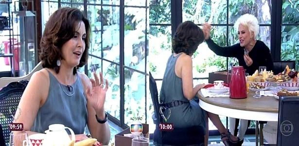 13.mai.2015 - Fátima Bernardes faz uma passagem relâmpago pelo programa