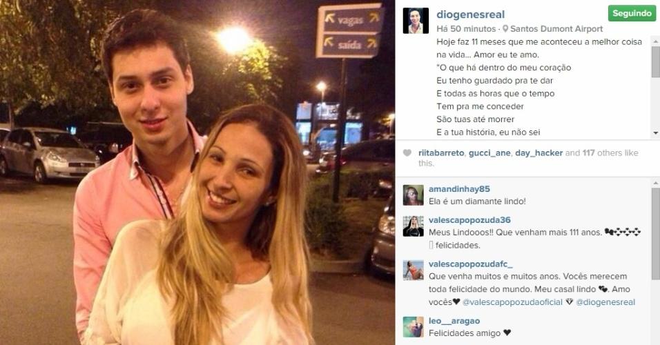 13.mai.2015 - Namorado da cantora Valesca Popozuda, Diógenes David fez uma declaração de amor para ela na tarde desta quarta-feira. Em sua conta no Instagram, ele publicou uma foto romântica dos dois, em comemoração ao aniversário de namoro.