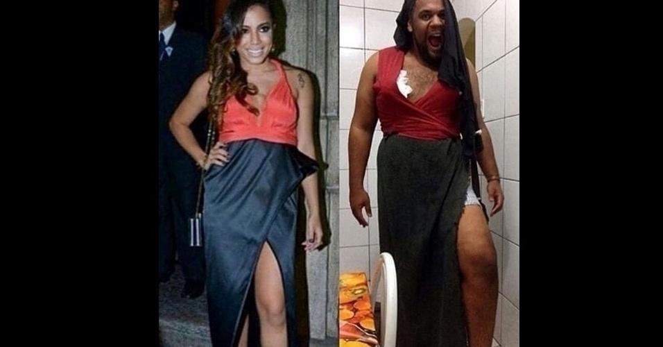 Um internauta fez a sua própria versão do look da cantora Anitta no casamento de Preta Gil e Rodrigo Godoy