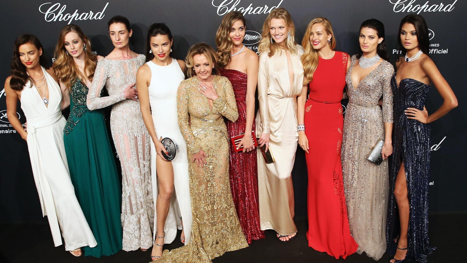 18.mai.2015 - Na noite desta segunda-feira (18), a festa da Chopard Gold Party, que aconteceu durante o sexto dia do 68° Festival de Cannes, reuniu beldades como as modelos Adriana Lima, Irina Shayk e Isabeli Fontana