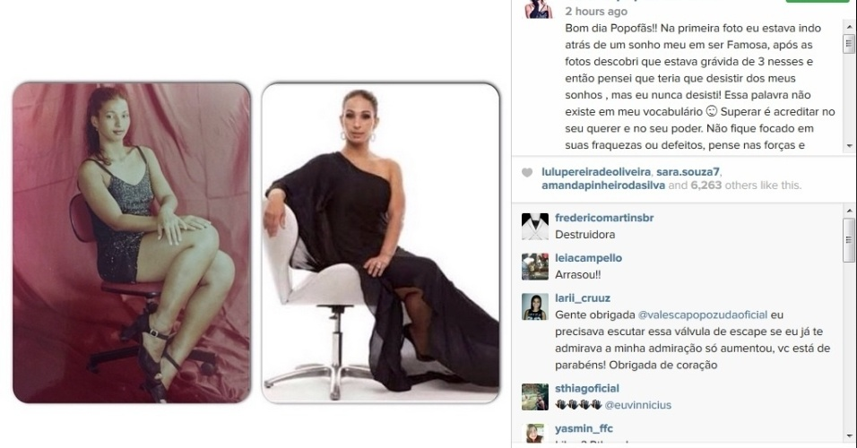 19.mai.2015 - Na manhã desta terça-feira (19), Valesca Popozuda usou sua conta no Intagram para fazer um comparação do seu 'antes e depois' da fama, e desabafou na rede social.