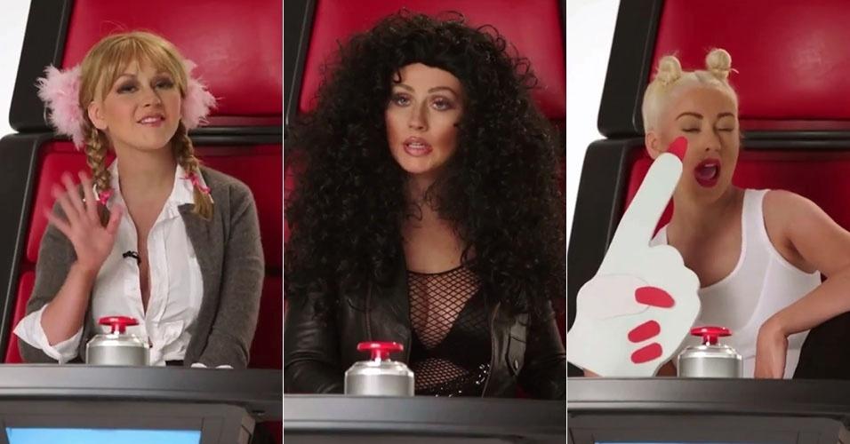 19.mai.2015 - Christina Aguilera imita Britney Spears, Cher e Miley Cyrus em vídeo promocional do