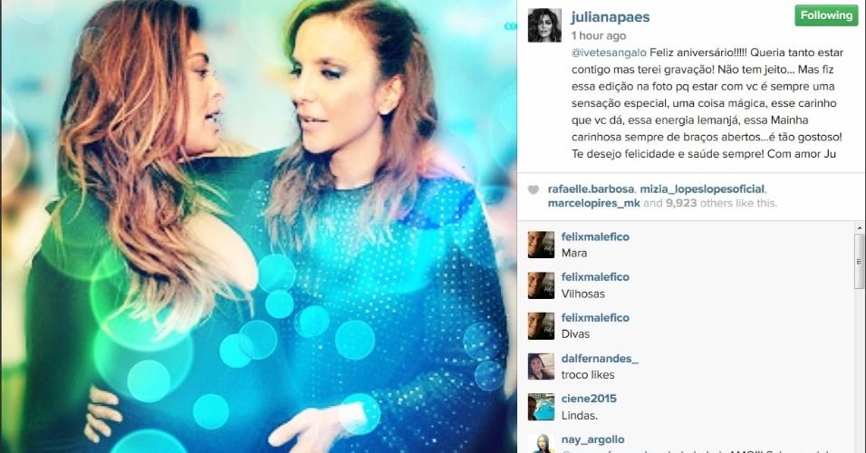 27.mai.2015 - Juliana Paes foi outra que usou o Instagram para homenagear Ivete Sangalo. Na manhã desta quarta-feira, a atriz postou uma foto ao lado da baiana e escreveu uma longa mensagem na rede social