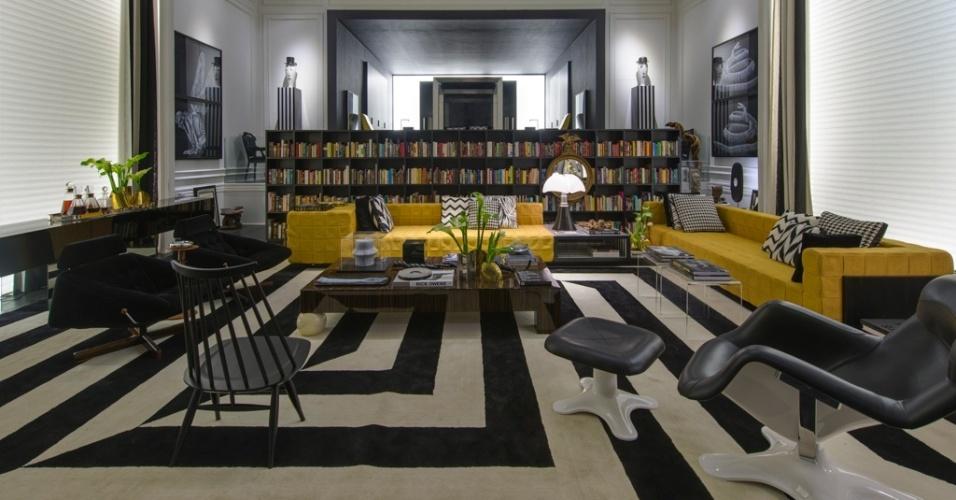 Casa Cor SP 2015 - Guilherme Torres se ateve aos contrastes em preto e branco e a uma pitada de amarelo para compor o espaço cosmopolita (e nada monótono) Today Skin