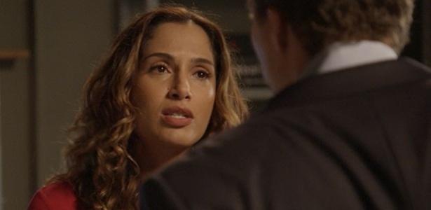 """Regina(Camila Pitanga) acusa Vinícius pela prisão de Luís Fernando (Gabriel Braga Nunes) e diz:""""O que você fez não tem perdão!"""""""