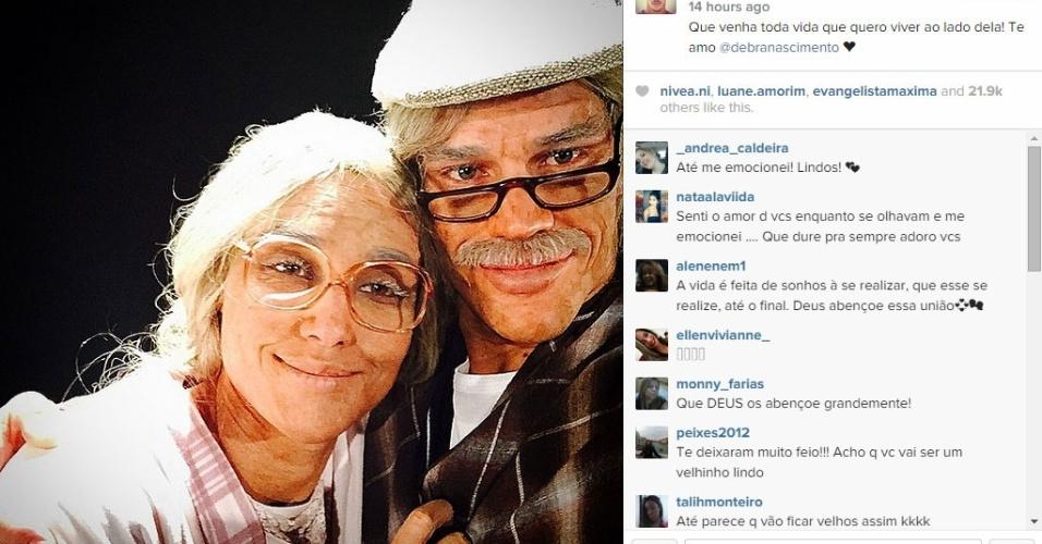 07.jun.2015 - Débora Nascimento e José Loreto, que se casaram às escondidas em uma cerimônia íntima em Abu Dhabi, nos Emirados Árabes, participaram de um quadro do