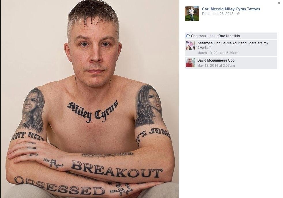 Carl McCoid tem 29 tatuagens em homanagem à Miley Cyrus