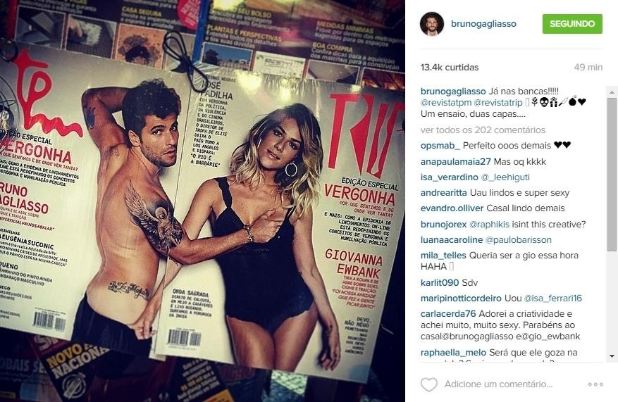 10.jun.2015 - Bruno Gagliasso mostrou o resultado final de um ensaio fotográfico que fez com a mulher, Giovanna Ewbank, aos seus fãs no Instagram. Cada um foi parar em uma capa de revista, ele na
